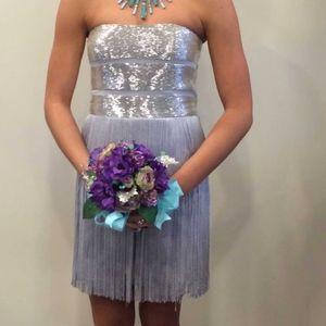 Silver Fringe Party Dress